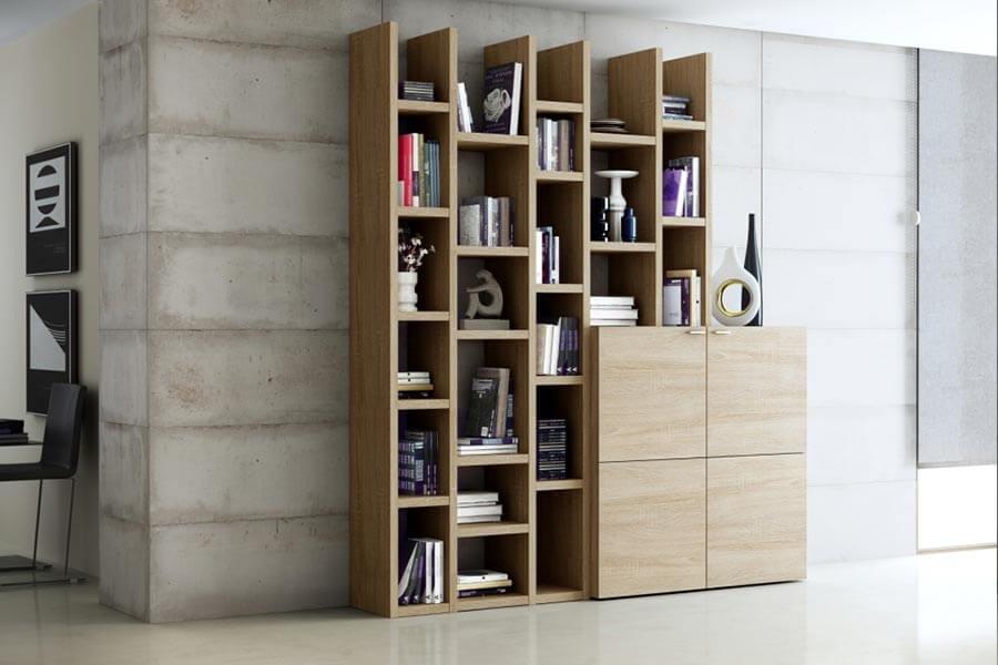 boekenkast op maat met dressoir in dezelfde kleur en afwerking