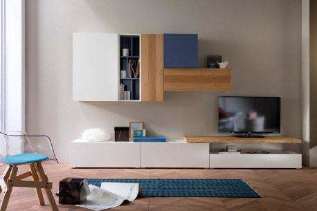 Complete TV-kast met lowboards en eiken kast-elementen