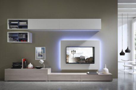 Design TV-kast op maat met lowboard, paneel en hangende kast-elementen