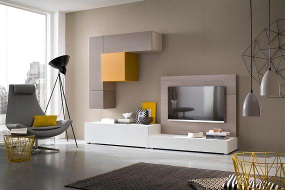 Modern TV-meubel met lowboard, paneel en hangende kasten-1