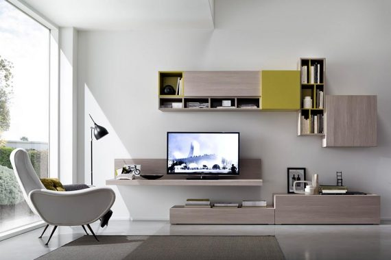 Moderne TV-kasten op maat met zwevend schap en lowboard