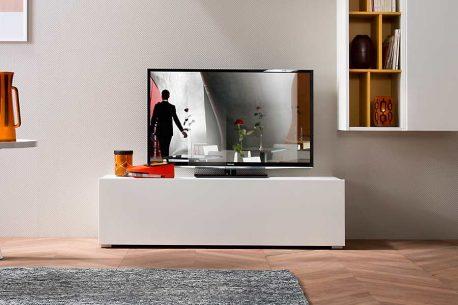TV-kast op maat met lade lade en poten in aluminium kleur
