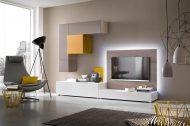 Modern TV-meubel op maat met lowboard, paneel en hangende kasten-2 | Verruim