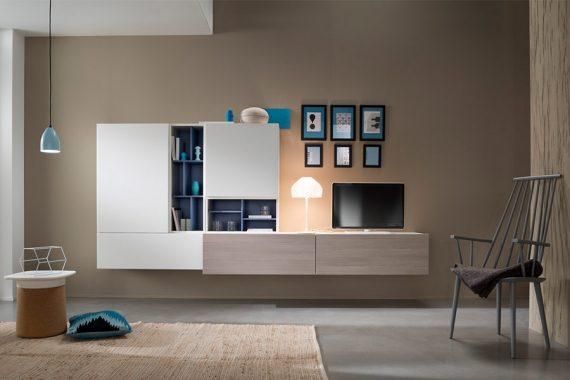 Volledig hangende kastenwand met ruimte voor de TV