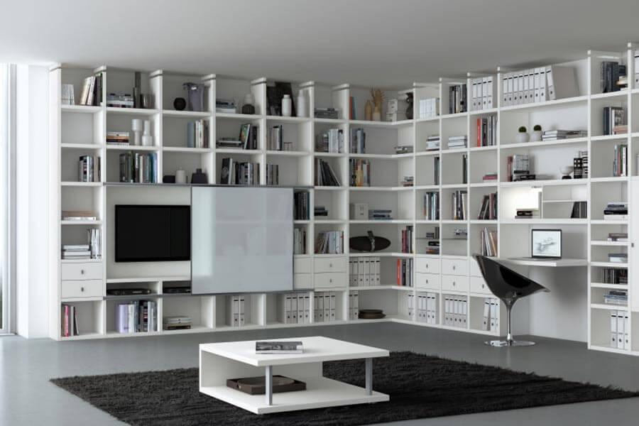 Witte hoekkast met tv op maat   Verruim Mooie kasten op maat